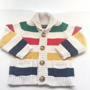 HUDSON'S BAY COMPANY Wool Blend Striped Cardigan